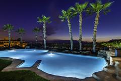 Basen - Hiszpania - Spain - Alicante (Kuba Petrymusz) Tags: basen spain hiszpania woda relax relaks odpoczynek popracy alicante palmy aqua park plener podswietlany klimatycznie romantycznie lato ciepło wieczór zachod sunset