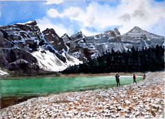 A Scene in Icefields Parkway 2, 2019-06-12 (light and shadow by pen) Tags: watercolor banff landscape art