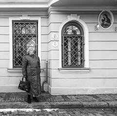 Fear of Brexit (Wormsmeat) Tags: riga latvia street streetphotography olympus penf mzuiko714f28pro blackwhite monochrome humour humor woman bags