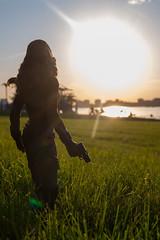 DSC_5230 (Quantum Stalker) Tags: black widow natasha romanoff hot toys civil war figure mcu marvel scarlet johansson sunset natural light photography toy red hair batons nightstick pistols windsor ontario park