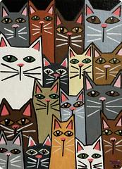 SerenaAzureth_ATC_CatsGalore2 (SerenaAzureth) Tags: serenaazureth handdrawn drawing sketch acrylic paint pen atc artist trading card swapbot swap bot cat cats kitty kitties blackcat meow