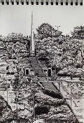 Obelisco - solsticio de invierno. (http://oba-k3.wixsite.com/davidsalguero) Tags: urbansketch sketch drawing dibujo art arte plumilla tinta inchiostro pennino disegno paesaggio obelisco muisca paisaje landscape nibpen pleinair