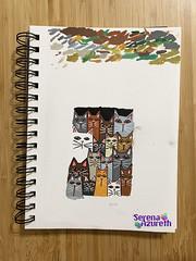 SerenaAzureth_ATC_CatsGaloreOnDrawingPad2 (SerenaAzureth) Tags: serenaazureth handdrawn drawing sketch pen acrylic paint atc artist trading card wip work progress swapbot swap bot cat cats kitty kitties meow blackcat