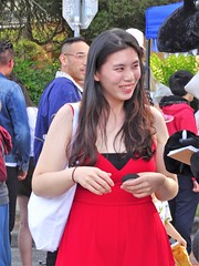The Girl in a Red Dress (knightbefore_99) Tags: commercialdrive car free day eastvan vancouver 2019 sunny thedrive italian italy asian pretty girl red rouge dress smile teeth