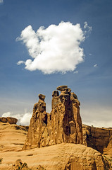 The Three Gossips (Steve Corey) Tags: meerkats threegossips archesnp utah courthousetowers cloud sandstone stevecorey spires formations towers