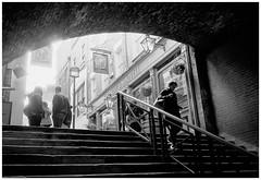 Descent (Adam Lee Guitarist) Tags: london flickr londer londoner leica m6 zeiss 35mm f28 biogon zm ilford hp5 plustek opticfilm 8100 stairs steps person human street photography social documentary city urban black white monochrome mono noir photojournalism photojournalist contrast pub ancient history architecture