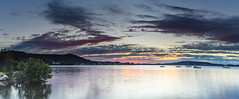 Sunrise Bay Panorama (Merrillie) Tags: daybreak sunrise nature australia tascott boats foreshore newsouthwales clouds koolewong nsw brisbanewater panorama panoramic morning earlymorning water coastal landscape sky waterscape dawn centralcoast bay outdoors