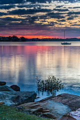 Sunrise and Low Clouds on the Bay (Merrillie) Tags: daybreak sunrise nature australia tascott boats newsouthwales clouds koolewong nsw brisbanewater foreshore morning earlymorning water coastal landscape sky waterscape dawn centralcoast bay outdoors