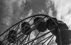 Wheel Meet Again (Mano Green) Tags: ferris wheel big sky cloud fair ride scarborough england uk september 2016 summer canon eos 300 40mm lens ilford hp5 400 35mm film black white ilfosol s epson perfection v550 landscape street coast seaside town