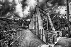 Mini Bridge. (Igor Danilov Philadelphia) Tags: bridge sidewalk sky clouds mono bw over manayunk philadelphia