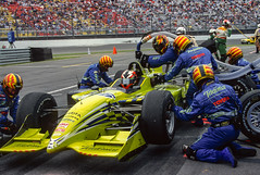 PPI crew refueling Servia (speedcenter2001) Tags: cart champcar indycar nazareth speedway allentown oval racing toyota reynard firestone openwheel filmscan provia eos canon oriolservia ppi telefonica pitlane fueling crew action methanol coolscan