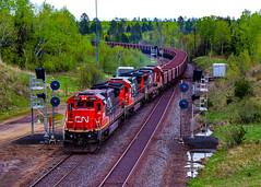 Biwabik East (BravoDelta1999) Tags: canadiannational cn railway duluthmissabeandironrange dmir railroad ironrangesubdivision biwabik east interlocking minnesota searchlight signal ge c408 2020 taconite ore train