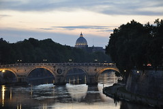 St. Peter's & Tiber River (Ryan Hadley) Tags: tiberriver river rome italy europe worldheritagesite stpetersbasilica basilica cathedral church dome bridge
