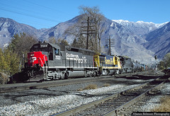Pulling Through Town (jamesbelmont) Tags: southernpacific speedlettering emd sd45 provo utah drgw riogrande wasatch train railroad railway locomotive santafe ge b367 sd45r sd40t2