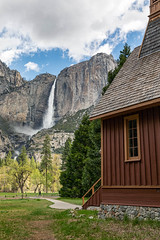 Divine View (Kirk Lougheed) Tags: california usa unitedstates yosemite yosemitechapel yosemitefalls yosemitenationalpark yosemitevalley chapel landscape nationalpark outdoor park spring water waterfall