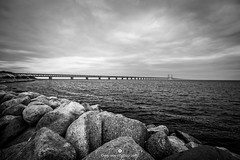 Oresund bridge connecting Denmark with Sweden (www.ownwayphotography.com) Tags: bridge oresund copenhagen malmo sweden denmark blue background sky construction water travel landscape building road famous scandinavian landmarks malm light spring design nature malmoe railway