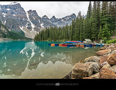 Moraine Lake in Banff National Park, AB, Canada (Ann Badjura Photography) Tags: morainelake banffnationalpark banff alberta canada canadianrockies canoes mountains scenery landscape nature trees ctvphotos canadianbeauty ourcanada iamcanadian chipmunk squirrel valleyoftenpeaks lake photonewsgallery pacificnorthwest pnw