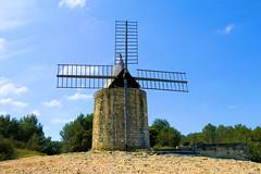 P1010798 (alainazer2) Tags: fontvieille provence france ciel cielo sky arbre tree moulin mulino windmill