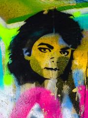 The Man in the Mural (Steve Taylor (Photography)) Tags: michaeljackson abstract portrait graffiti stencil streetart colourful contrast man uk gb england greatbritain unitedkingdom london