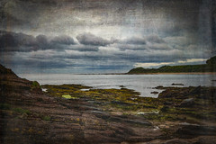 Scotland's Bleak and Beautiful Coastline (judy dean) Tags: judydean 2019 scotland eastlothian coast sea rocks clouds lensbaby texture ps