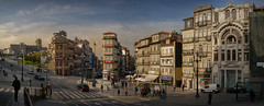 Porto à la mode (Pietro Faccioli) Tags: portugal porto square praça architecture panorama afternoon sunset light buildings town city urban sky cloudy street traffic façade window alley people