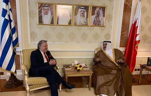 Συνάντηση ΥΠΕΞ Γ. Κατρούγαλου με με ομόλογό του Μπαχρέιν Shaikh Khalid bin Ahmed bin Mohammed Al Khalifa