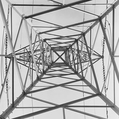 The Symmetry of Power (line) (Attila Pasek (Albums!)) Tags: electric bronicasqa mediumformat 6x6 bw film analogue delta tower 120film camera 400 transmissiontower steel ilford pylon blackandwhite