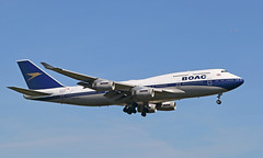 BOAC (Treflyn) Tags: british airways boeing 747 744 jumbo jet 747400 gbygc retro boac livery arrives london heathrow airport overseas airline corporation lhr ba runway 09 09l