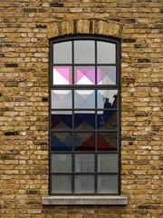 Window Spotting (Steve Taylor (Photography)) Tags: art architecture design window brick plastic glass uk gb england greatbritain unitedkingdom london diamond pattern reflection