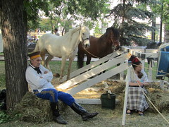 festival of history (VERUSHKA4) Tags: horse cavalli scene hccity festival historic man woman two animal white brown costume canon europe russia people summer june day clothes boots shirt trousers tree cap nature verdure trunk sitting tradition