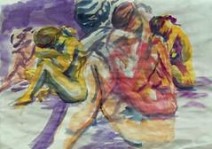 modele vivant à quatre mains (christian angué) Tags: modele vivant aquarelle pose croquis dessin femme nu nude
