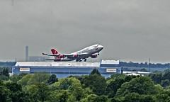 Virgin take off (Nigel Valentine) Tags: virgin 474 aeroplane white red manchester airportatlantic green