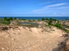 Warren Dunes (mswan777) Tags: sand dune path shore coast seascape landscape sky cloud water horizon footprints bridgman michigan apple iphone iphoneography mobile blue white tree