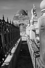 Alleys Of The Dead (peterkelly) Tags: bw digital canon 6d northamerica cuba gadventures cubalibre dome fence shadow cemetery graveyard grave gravestone headstone tombstone dead death alley sarcophagus stone statue