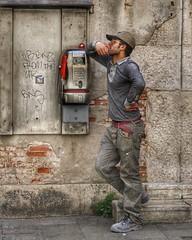 Aspettando la tua telefonata (FotoFling Scotland) Tags: 500px aspettandolatuatelefonata attraente cap flickr fotografiadistrada hombre italia italy male nmp rigonfiamentomaschile streetphotography telephone uomo venezia venice