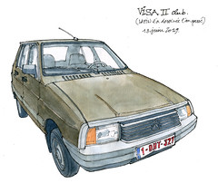 Visa II Club, 1982 (gerard michel) Tags: liège auto ancêtre citroën visa sketch croquis aquarelle watercolour