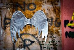 Street Art - Greek style (judy dean) Tags: judydean 2019 lensbaby greece nafplio streetart silver wings