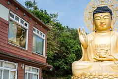 Reflection (GlobalGoebel) Tags: canonef24105mmf4lisusm canoneos5dmarkiii 24105mm reflection buddha buddhist buddhism korea korean southkorea reflektor statue window jeju island jejudo bomunsa temple mt mount sanbangsan travel travelphotography