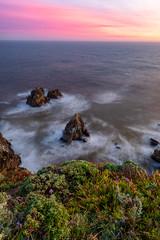 Bodega Head Sea Stacks at Sunset (optimalfocusphotography) Tags: usa landscape seastacks nature water sea northerncalifornia sonomacounty beach ocean california sky sunset clouds coast flowers waves