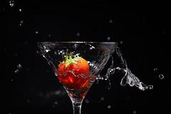 Strawberry (Bernie Condon) Tags: strawberry splash water glass red black drop flash studio