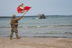 A Sailor signals a landing craft, utility to offload tactical vehicles during Exercise Baltic Operations 2019. (Official U.S. Navy Imagery) Tags: baltops2019 balticoperations nato allies partnernations beach training marinecorps navy kallaste estonia