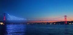 Bosphorus Bridge (aykutgebes) Tags: blue bridge sea continent evening light istanbul
