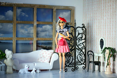 la française (photos4dreams) Tags: dress barbie mattel doll toy photos4dreams p4d photos4dreamz barbies girl play fashion fashionistas outfit kleider mode puppenstube tabletopphotography diorama scenes 16 canoneos5dmark3 white hair juliet