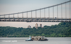 Old Tappan Zee Bridge Superstructure Remains floating on the Hudson River past the George Washington Bridge, New York City (jag9889) Tags: 1955 2019 20190612 barge boat bridge bridges bruecke brücke crossing dismantling gw gwb georgewashingtonbridge governormalcolmwilsontappanzeebridge hudsonriver infrastructure k004 k007 manhattan metal ny nyc newyork newyorkcity newyorkthruway outdoor pont ponte puente punt river rubym scrap span structure suspensionbridge tappanzee tappanzeebridge transportation tug tugboat usa unitedstates unitedstatesofamerica uppermanhattan wahi washingtonheights water waterway workboat jag9889