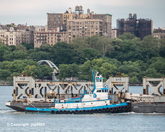 Old Tappan Zee Bridge Superstructure Remains floating down the Hudson River, New York City (jag9889) Tags: 151thstreet 1955 2019 20190612 barge boat bridge bridges bruecke brücke crossing dismantling footbridge governormalcolmwilsontappanzeebridge hamiltonheights harlem hudsonriver infrastructure k004 manhattan metal ny nyc newyork newyorkcity newyorkthruway outdoor pedestrianbridge pont ponte puente punt river rubym scrap span structure tappanzee tappanzeebridge tower transportation tug tugboat usa unitedstates unitedstatesofamerica water waterway workboat jag9889