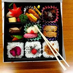 Bento (lorenzog.) Tags: bento food foodporn japanesefood japan saturatedcolours contrast vividcolours cameraphone nagoya