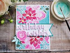 Rosey floral birthday wishes - 2019-06-06 (Handmade by Natty) Tags: cardmaking2019 cardmaking kuretakegansaitambi simonsaysstampsketchedflowers mftcauseforcelebration