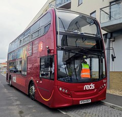Salisbury Reds have loaned 1597 to Southern Vectis for use at the Isle of Wight Festival. Here it is on Castle Street in East Cowes. There will be a list of all the buses used at the festival that I know of in the description. - HF64 BSY - 13th June 2019 (Aaron Rhys Knight) Tags: salisburyreds 1597 hf64bsy 2019 castlestreet eastcowes isleofwight goahead gosouthcoast alexanderdennis enviro400