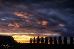 Enchanting morning in Easter Island (marko.erman) Tags: rapanui easterisland iledepaques pacificocean ahutongariki beautiful mysterious gigantic moai sculptures statues legend remote isolated ancientcivilisation sony sunrise morning burningsky