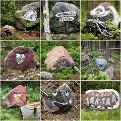 Trail art (pjen) Tags: mtb nature forest finland nordic trail art outdoors summer panda angrybirds redbird rocks monster painting paintings